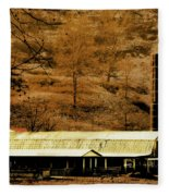 Winter Morning At The Cattle Farm Fleece Blanket