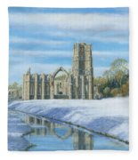 Winter Morning Fountains Abbey Yorkshire Fleece Blanket