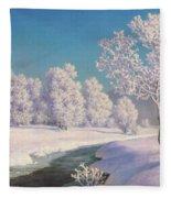 Winter Morning In Engadine Fleece Blanket
