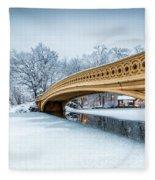 Winter Morning With Bow Bridge Fleece Blanket