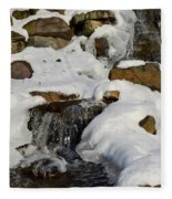 Winter Mountain Stream Fleece Blanket