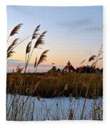 Winter On The Delaware  Fleece Blanket