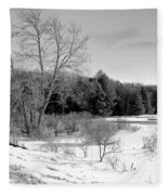 Winter On The Moose River Fleece Blanket