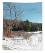 Winter On The Moose River - Old Forge New York Fleece Blanket