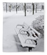 Winter Park With Benches Fleece Blanket