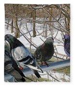 Winter Pigeon Party Fleece Blanket