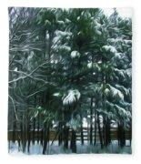 Winter Pine Tree  Fleece Blanket