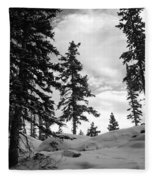 Winter Pines Silhouetted Against The Sky Fleece Blanket
