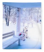 Winter Porch Fleece Blanket