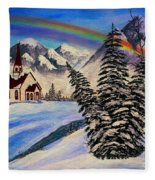 Winter Rainbow Fleece Blanket