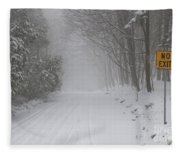 Winter Road During Snow Storm Fleece Blanket