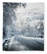 Winter Road In Forest Fleece Blanket