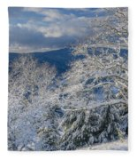 Winter Scene At Berry Summit Fleece Blanket