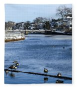 Winter Scene Jersey Shore Town Fleece Blanket