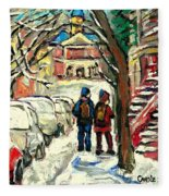 Winter Scene Painting Rows Of Snow Covered Cars First School Day After Christmas Break Montreal Art Fleece Blanket