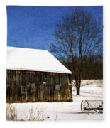 Winter Scenic Farm Fleece Blanket