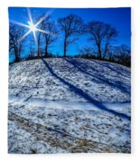 Winter Scinery In The Mountains With Bllue Sky And Sunshine Fleece Blanket