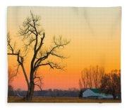 Winter Season Country Sunset Fleece Blanket