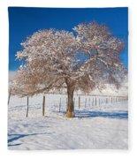 Winter Season On The Plains Portrait Fleece Blanket