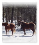 Winter Shadow Horses Fleece Blanket
