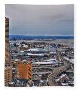 Winter Skyway Downtown Buffalo Ny Fleece Blanket