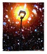 Winter Snow Storm At Night Fleece Blanket