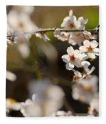 Winter Spring Almond Flowers Fleece Blanket