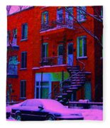 Winter Staircases Two Fleece Blanket