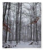 Winter Storm In The Forest Fleece Blanket