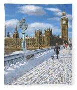 Winter Sun - Houses Of Parliament London Fleece Blanket