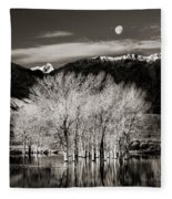 Winter Sunrise And Moonset Fleece Blanket