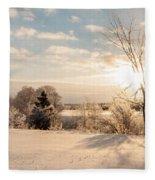 Winter Sunrise Panorama Fleece Blanket