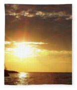 Winter Sunset Over Long Island Fleece Blanket
