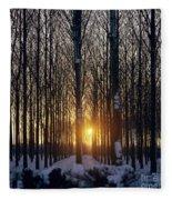 Winter Sunset Through The Trees Fleece Blanket