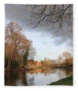 Winter Sunshine On The Wey Canal Surrey Uk Fleece Blanket