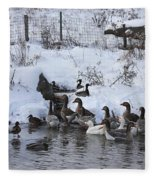 Winter Swimming Hole Fleece Blanket