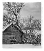 Winter Thoughts Monochrome Fleece Blanket
