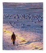 Winter Time At The Beach Fleece Blanket