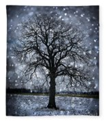 Winter Tree In Snowfall Fleece Blanket
