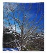 Winter Tree On Sky Fleece Blanket