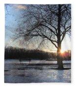 Winter Tree Sunset Fleece Blanket