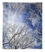 Winter Trees And Blue Sky Fleece Blanket