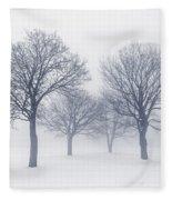 Winter Trees In Fog Fleece Blanket