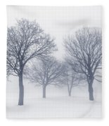 Winter Trees In Fog Fleece Blanket