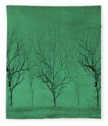 Winter Trees In The Mist Fleece Blanket
