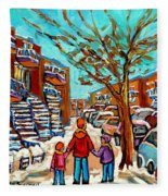 Winter Walk Montreal Paintings Snowy Day In Verdun Montreal Art Carole Spandau Fleece Blanket