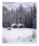 Forest Snow Blanketed Privies - Winter In Banff, Alberta Fleece Blanket