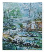 Winter Whispers On Catskill Creek Fleece Blanket