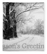 Winter White Season's Greeting Card Fleece Blanket