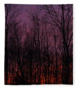 Winter Woods Sunset Fleece Blanket